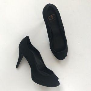 Kelsi Dagger black suede curvy heels